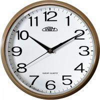 Klasické hodiny PRIM v čistém designu v plastovém provedení s arabskými číslicemi se strojkem s tichým a plynulým chodem..01669