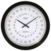 Nástěnné kulaté hodiny černá 24h