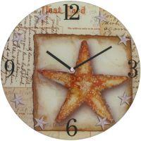 Nástěné hodiny skleněné kulaté Hvězdice