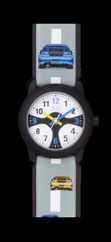 Náramkové hodinky JVD J7156.2 pro kluka modré a žluté auto