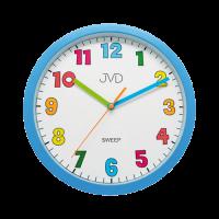 Nástěnné hodiny JVD sweep HA46.1 KULATÉ DĚTSKÉ MODRÉ HODINY