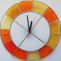 Skleněné hodiny - vitráž sklo