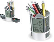Digitální budík jako stojan na tužky s nastavením datumu a vnitřním těploměrem..077