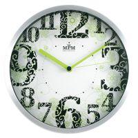 Kovové hodiny s velkými číslicemi a jemným motivem zelených květin E01.2524