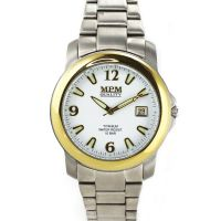 Pánské titanové hodinky s pozlaceným pouzdrem, pevným řemínkem a datumem W01M.10336