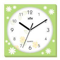 Světle zelené nástěnné hodiny s motivy drobných květů E01.2972