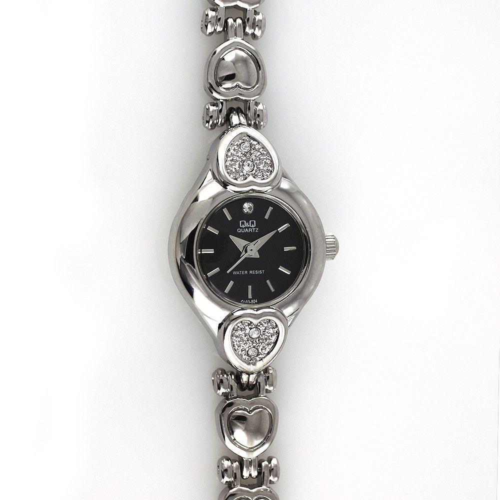 Dámské elegantní hodinky s motivy srdce, zdobené broušenými kamínky W02Q.10729
