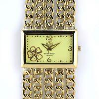 Dámské společenské hodinky na řemínku z řetízků. Číselník je zdobený květinkou W02M.10598   W02M.10598.A, W02M.10598.B, W02M.10598.C, W02M.10598.D