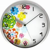 Stříbrné plastové hodiny s motivem jara E01.3086
