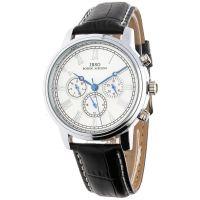 Moderní hodinky s ukazatelem data a koženým řemínkem W03X.11035