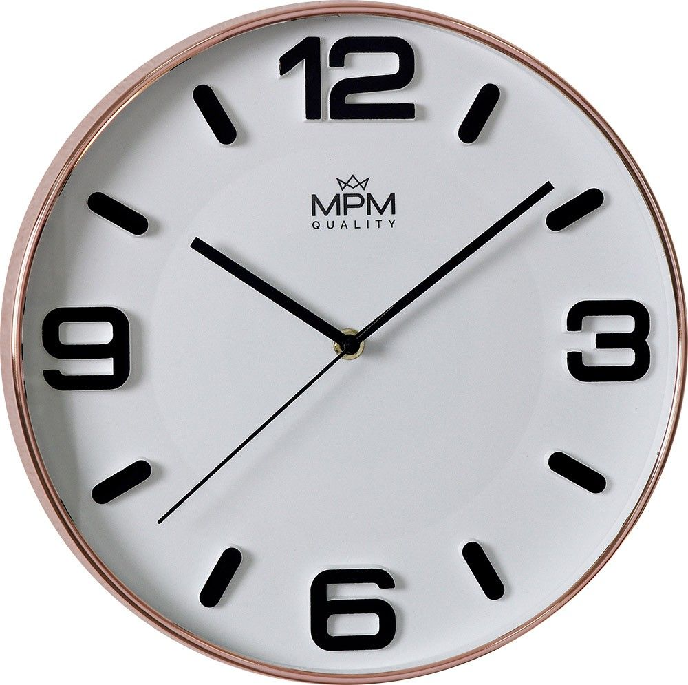 Moderní hodiny MPM Rose Modern. Čitelný bílý ciferník s výraznými indexy a čísly. .01525