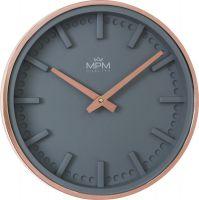 Nástěnné hodiny do moderních interiérů v kombinaci šedé a gold rose. Číselník má hodinové indexy s 3D efektem spolu s prolisy minutových indexů..01417