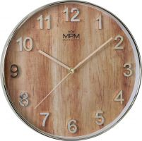 Nástěnné hodiny MPM Wood Style s motivemdřeva a výraznými arabskými číslicemi. E01.3898