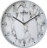 Nástěnné originální hodiny MPM Mramor v bílém provedení. Indexy a logo jsou natištěny na skle hodin. Hodiny do každého moderního bytu..01412