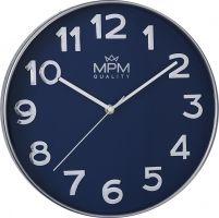 Netradiční modrostříbrné hodiny s čitelnými číslicemi. Moderní hodiny s 3D indexy do všech domácností..01420
