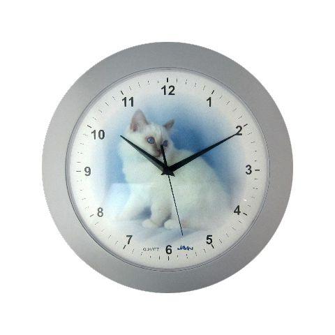 Disney Nástěnné hodiny na stěnu, nástěnné hodiny na zeď kulaté kočka nástěnné hodiny kočka stříbrná