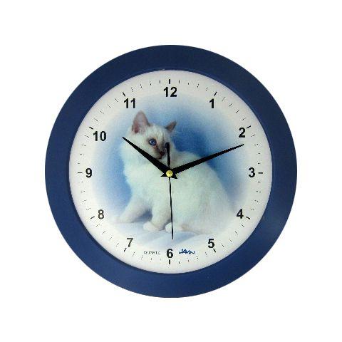 Disney Nástěnné hodiny na stěnu, nástěnné hodiny na zeď kulaté kočka nástěnné hodiny kočka modrá