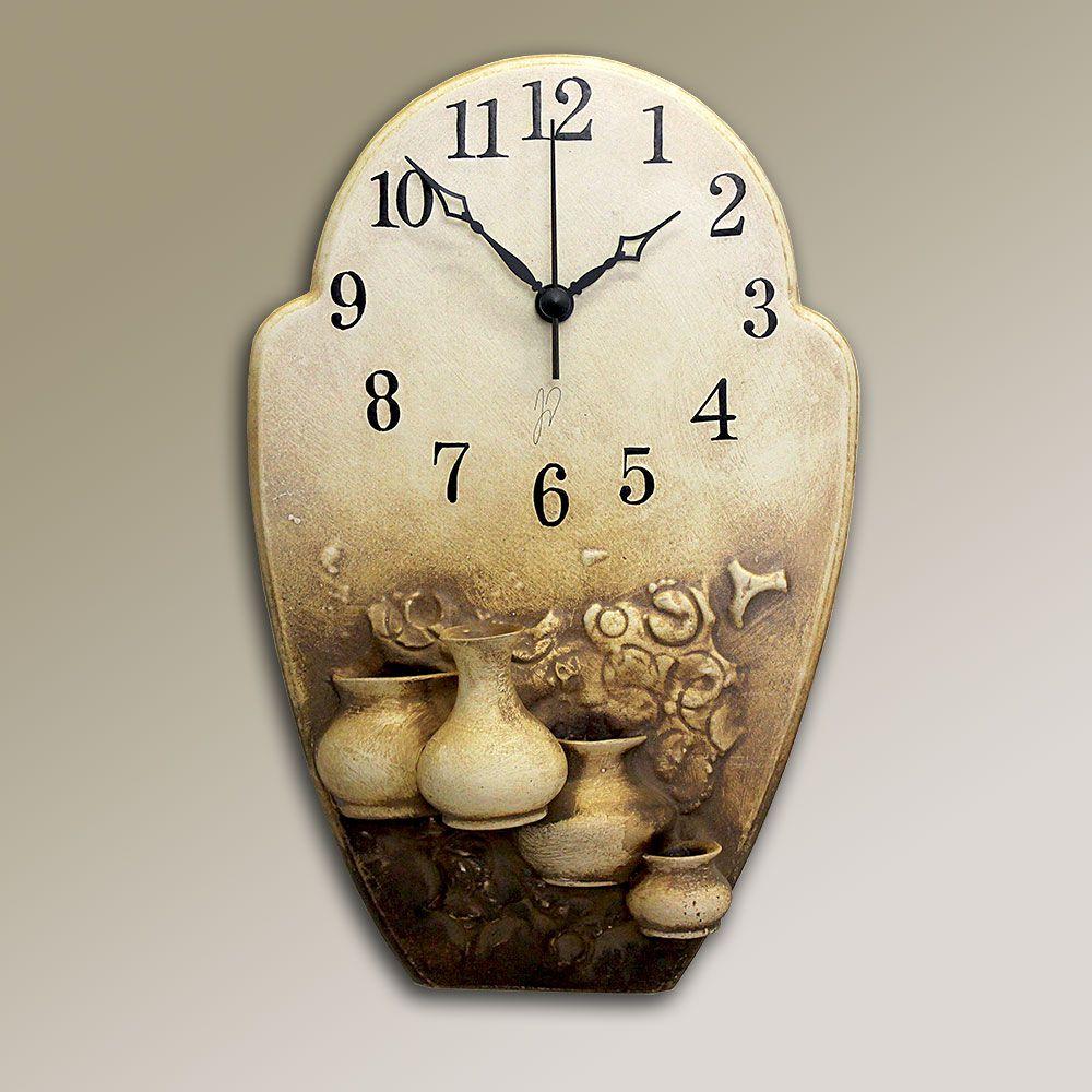 autorské hodiny Hnědé keramické hodiny na zeď - vázičky