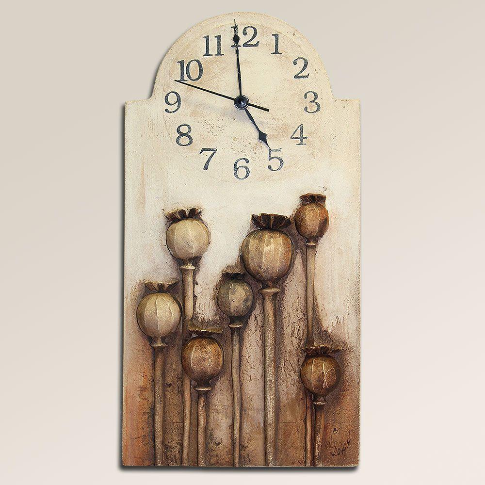 autorské hodiny Velké keramické hodiny na stěnu s makovicemi