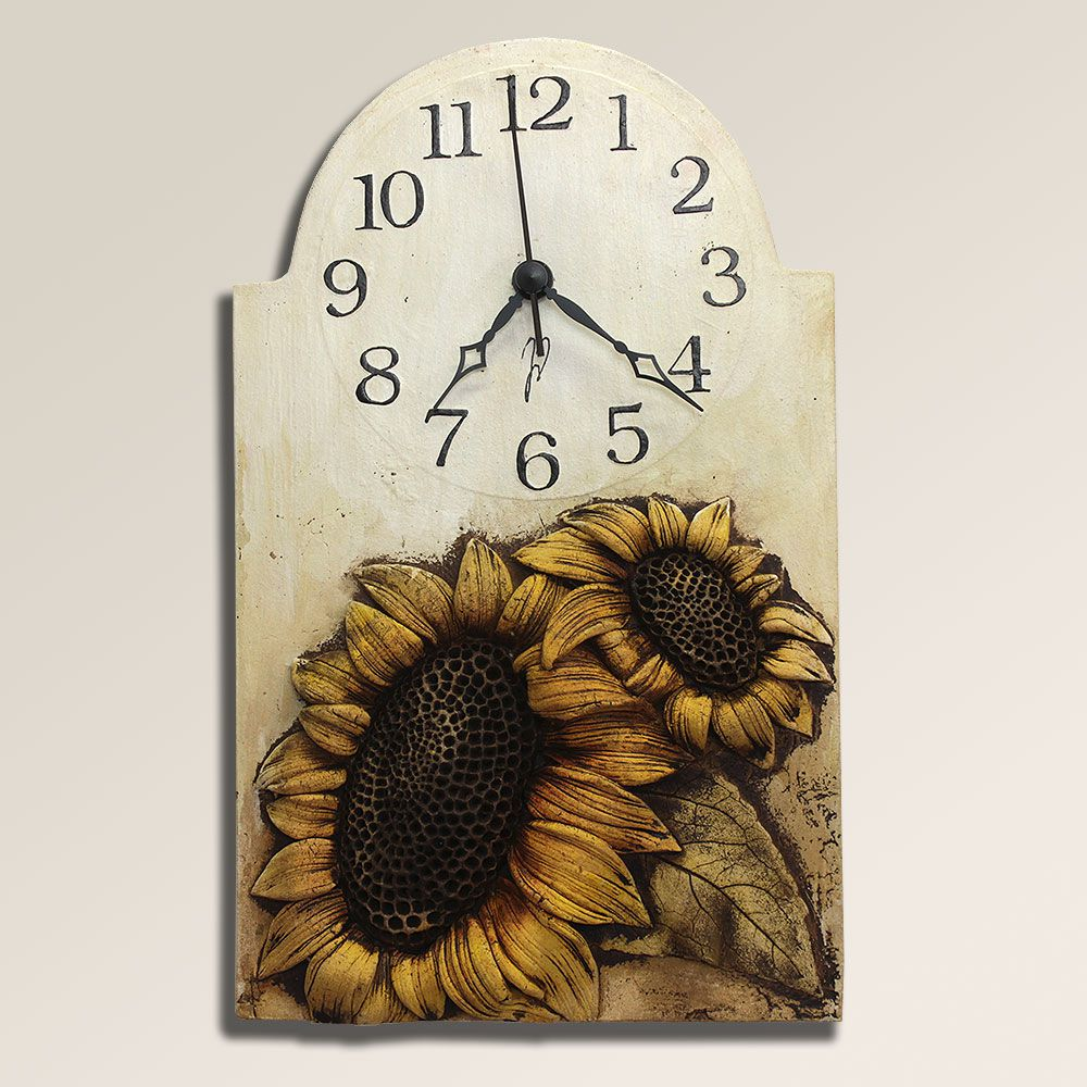 autorské hodiny Velké keramické hodiny na stěnu se slunečnicí