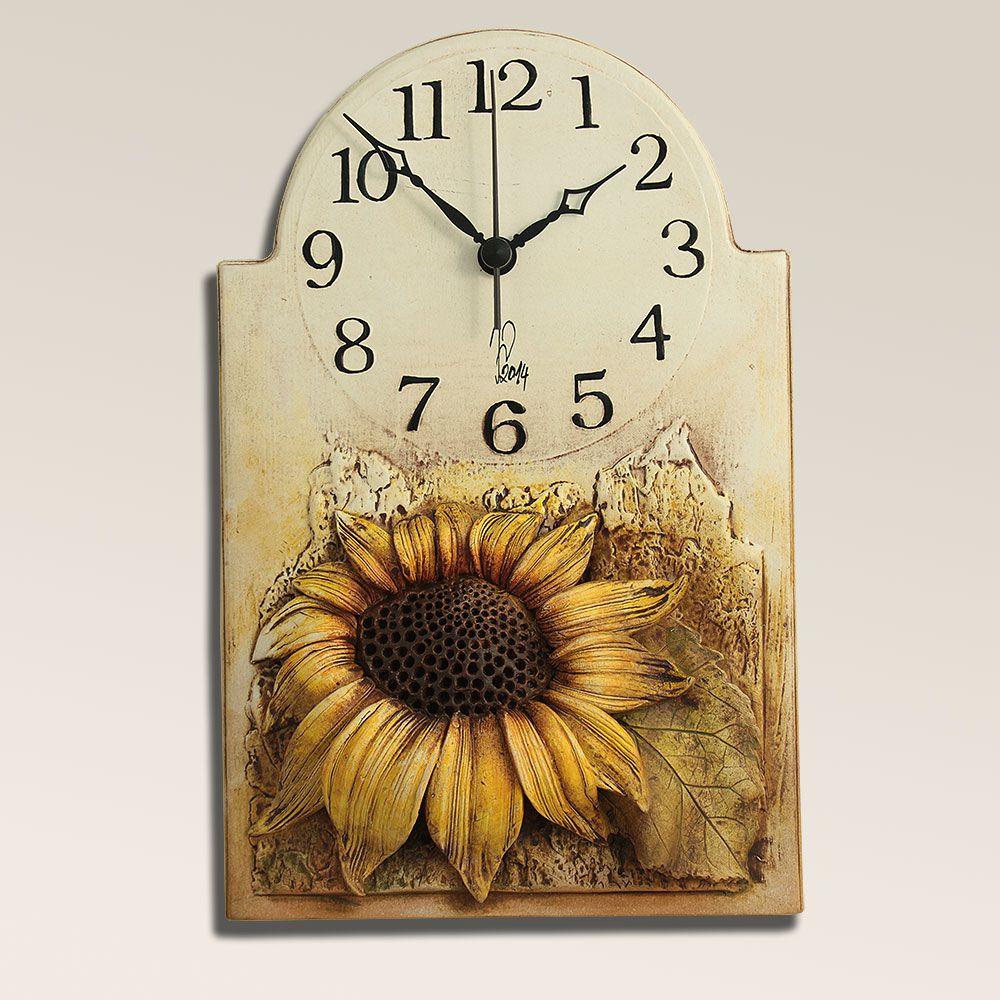 autorské hodiny Keramické hodiny na stěnu se slunečnicí