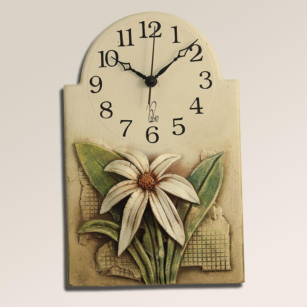 autorské hodiny Keramické nástěnné hodiny na stěnu s květinou