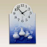 Modré nástěnné hodiny z keramiky - vázičky