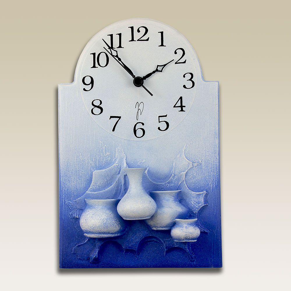 autorské hodiny Modré keramické hodiny na zeď - vázičky