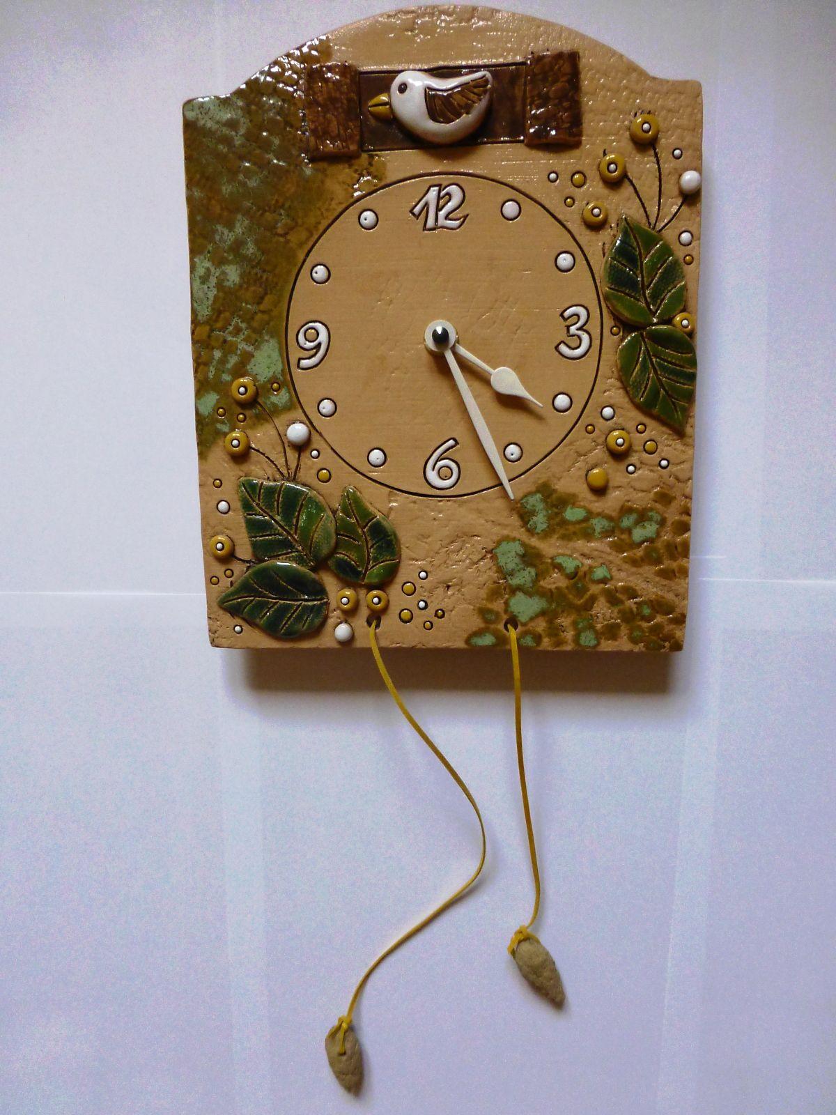 autorské hodiny Nástěnné hodiny keramické s kukačkou, hodiny na zeď keramické hodiny kukačky 1