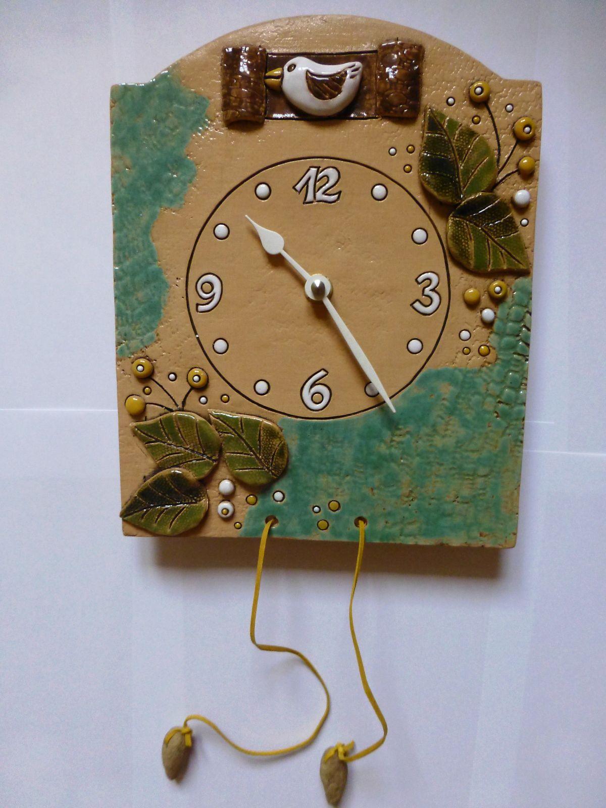 autorské hodiny Nástěnné hodiny keramické s kukačkou, hodiny na zeď keramické hodiny kukačky 2