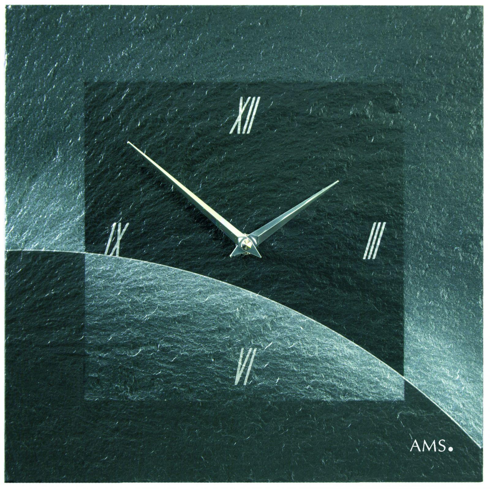 AMS Nástěnné hodiny na stěnu, nástěnné hodiny na zeď čtvercové z přírodní břidlice