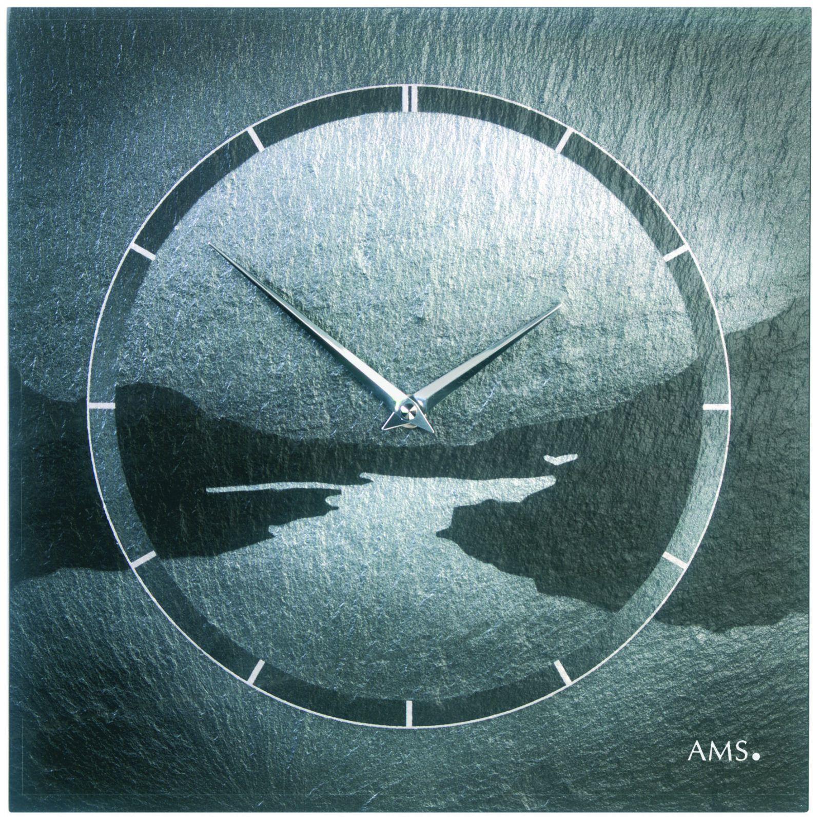 Rádiem řízené nástěné hodiny AMS 9512 z kamene