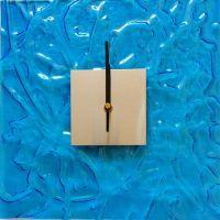 Hodiny čtverec modrá na stěnu