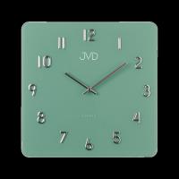 Čtvervové nástěnné hodiny JVD ze skla s kovovými prvky.