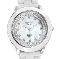 Dámské zdobené hodinky se stříbrným číselníkem na bílém kovovém pásku W02X.10774