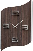 Designové nástěnné hodiny hranaté ams 9612 tmavé dřevo