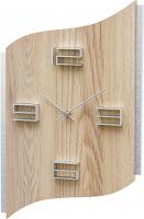 Designové nástěnné hodiny hranaté ams 9613 světlé dřevo