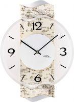 Designové nástěnné hodiny kulaté ams 9624 přírodní bříza