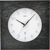 Nástěnné hodiny rádiem řízený čas ams 5546 přírodní břidlice čtverec