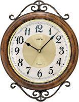 Bicí nástěnné hodiny dřevěné ams 9565