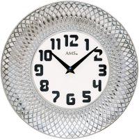 Nástěnné hodiny keramické ams 9614 stříbrná