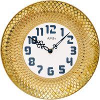 Nástěnné hodiny keramické ams 9615 zlatá