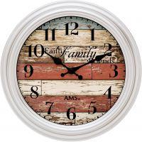 Nástěnné hodiny kulaté retro ams 9618 bílá rámeček