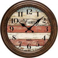 Nástěnné hodiny kulaté retro ams 9619 hnědá rámeček