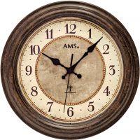 Nástěnné hodiny rádiem řízený čas ams 5544 hnědá patina