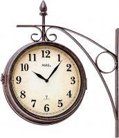 Nástěnné hodiny kovové rádiem řízený čas ams 5966 hnědá