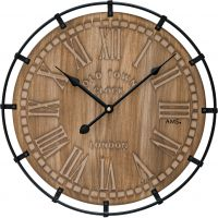 Nástěnné hodiny velké kulaté dřevěné ams 9616 hnědá