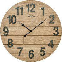 Nástěnné hodiny velké kulaté dřevěné ams 9617 světlá hnědá