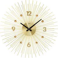Designové hodiny velké ams 9611 motiv sluníčko zlatá