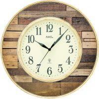 Designové nástěnné hodiny rádiem řízené kulaté ams 5965 vzor parkety dřevo